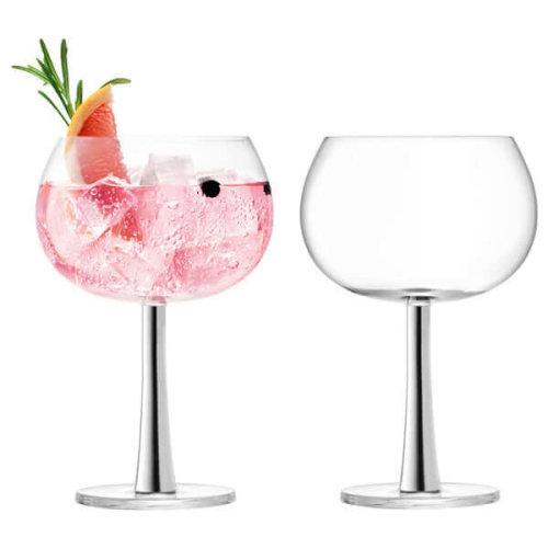 LSA International Balloon Gin Glasses, Platinum Stem, 420 ml, Set of 2