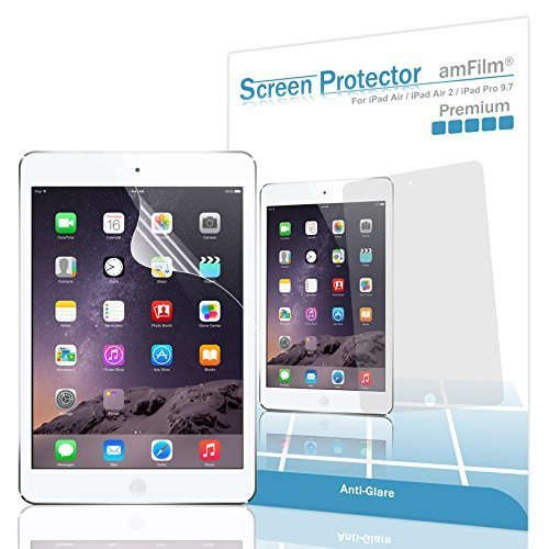 iPad Pro 9 7 inch Screen Protector amFilm Screen Protector for Apple iPad Air 2 iPad Air Anti Glare Anti Fingerprint with 2 Pack in Retail Packaging