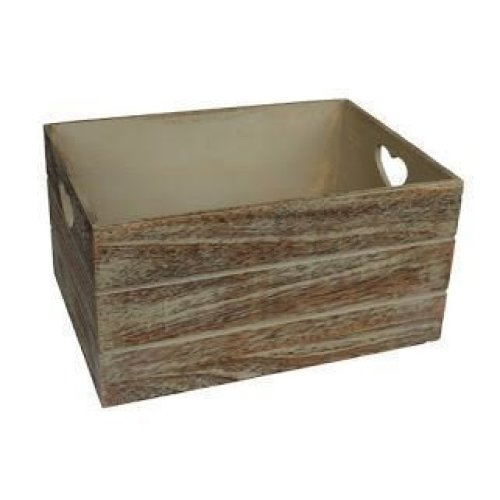 Large Oak Effect Heart Cut Handle Wooden Storage Crate