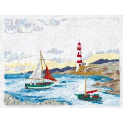 Sailing Boat Embroidery Kit By DMC Coast Lighthouse Ships