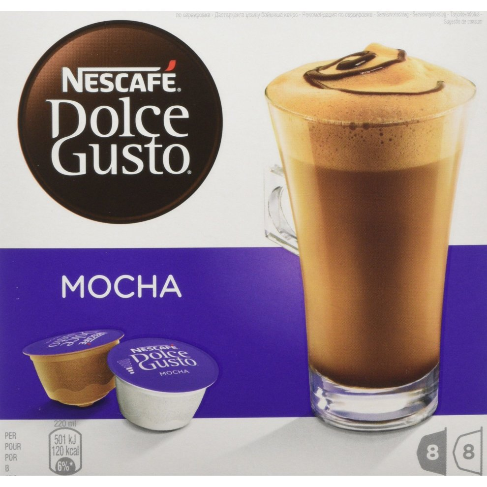 Nescafé Dolce Gusto Mocha Coffee Pods 16 Capsules Pack Of 3 Total 48 Capsules 24 Servings
