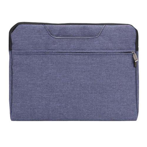 Portable Canvas Document Organizer A4 Zipper Bag Office Briefcase-Blue