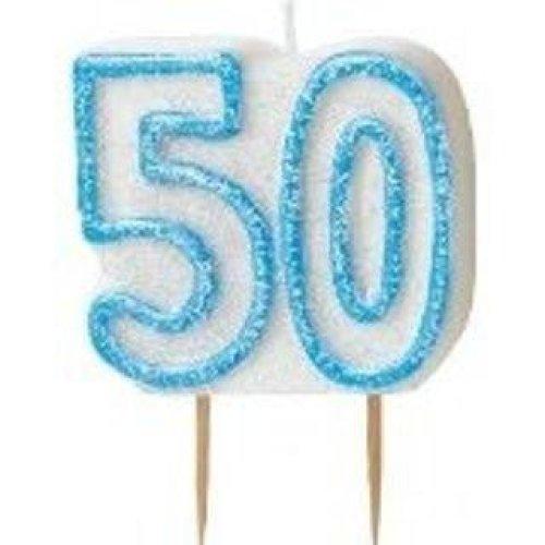 Age 50 Birthday Candle Blue Glitz
