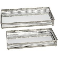 Hill Interiors Set Of Two Nickel Plated Trays (circular/rectangular) (one Size) -  rectangular nickel plated trays