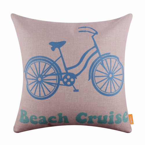 "18""x18"" Pink Cartoon Bicycle Burlap Pillow Cover Cushion Cover"