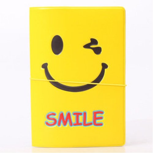 Emoji Smiley Face Passport Cover With Elastic Band Ticket Pouch (1 pk)