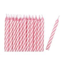 Pink Stripe Candles - /24