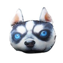 3D Cute Pet Dogs and Cats Face Head Pillow, Huskies