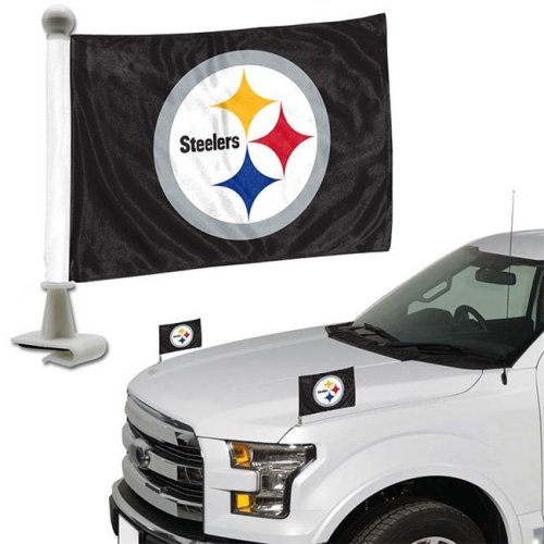 Team ProMark 84813 4 x 6 in. Pittsburgh Steelers Ambassador Car Flag, Set of 2