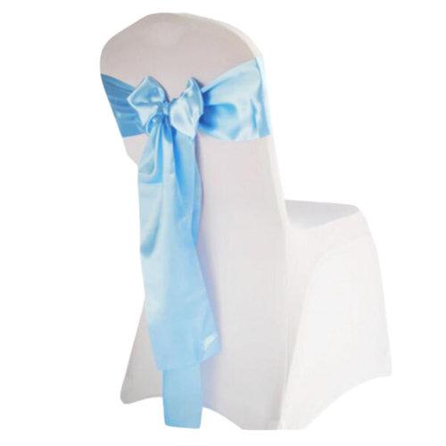 10PCS Wedding Anniversary Ribbon Elegant Chair Cover Bands Decor-Sky Blue