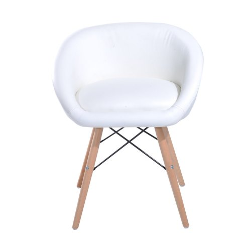 Homcom Faux Leather Lounge Chair | White Tub Dining Chair