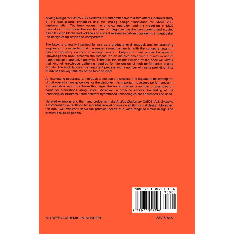 Analog Design for CMOS VLSI Systems (The Springer International Series in  Engineering and Computer Science)