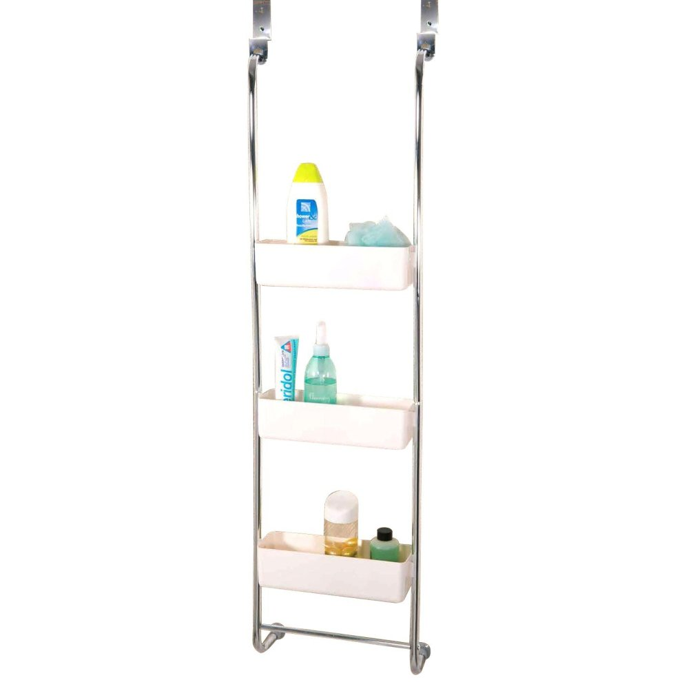 3-Tier Chrome Bathroom Hanging Rack | Triple Basket Shower Caddy on ...