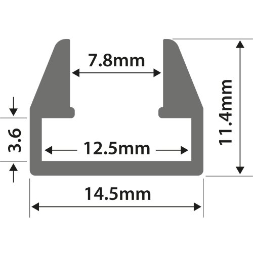 Aluminium LED Tape Profile - M8 Shelf Slot