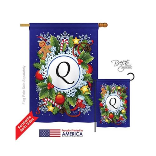 Breeze Decor 30095 Winter Q Monogram 2-Sided Vertical Impression House Flag - 28 x 40 in.