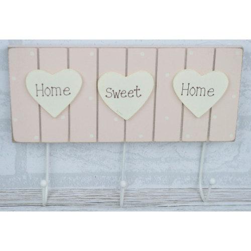 Coat Robe Hooks Rack Pink 3 Hooks Home Sweet Home Hearts F0442