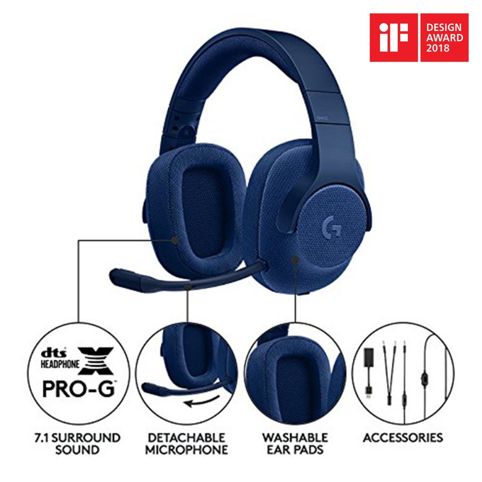 Logitech G433 Wired Gaming Headset, 7 1 Surround Sound for PC, Xbox One,  PS4, Switch, Mobile - Blue