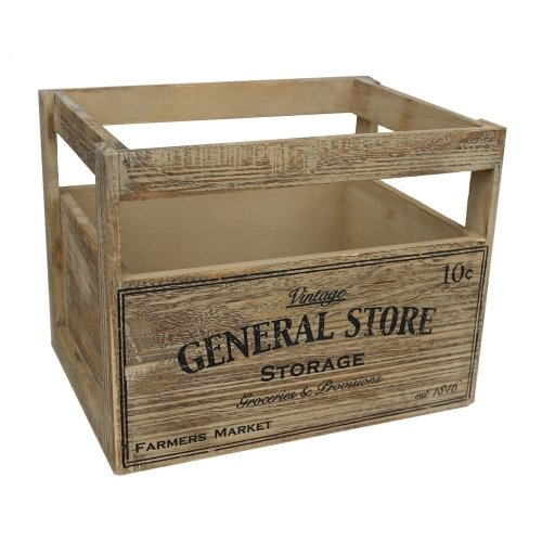 Small Wooden Storage Baskets with General Store Printing