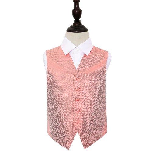 Coral Greek Key Wedding Waistcoat for Boys 22'