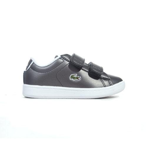 Lacoste Carnaby Evo 218 Infant Kids Girls Trainer Shoe Gunmetal Grey