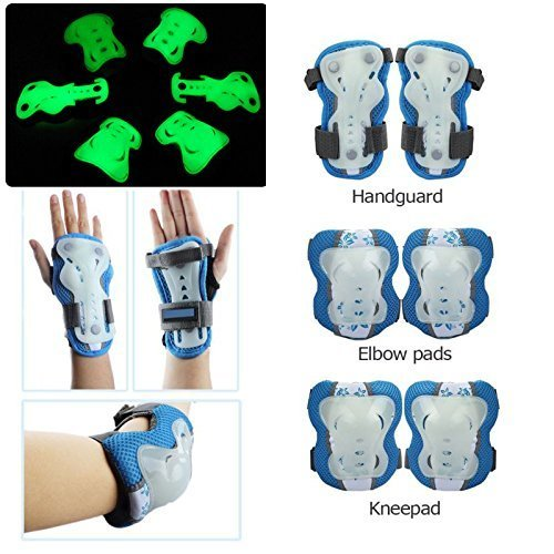 Kid's Protective Gear Set Glow in the Dark Elbow Knee Wrist Pads 6pcs for BMX/ Skateboard / Scooter/ Skate 2-12 Years