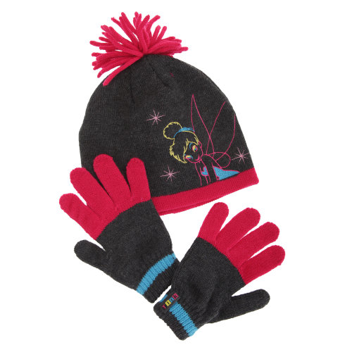 Disney Childrens Girls Tinker Bell Winter Hat & Gloves Set