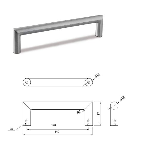 SMALL DOOR PULL HANDLE Stainless Steel C Bar Straight Bolt Fixing 128mm Pack of 5