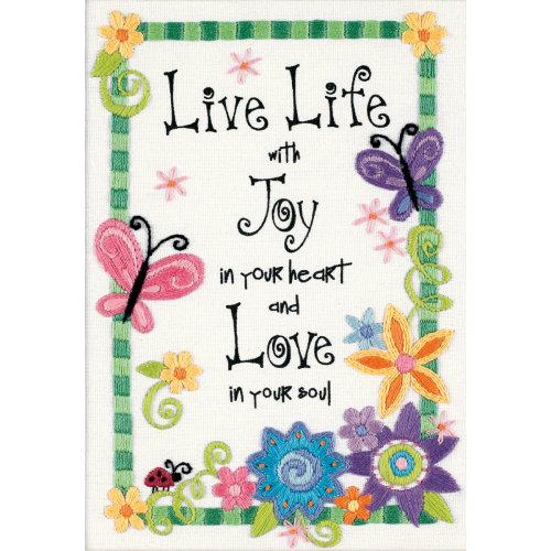 "Dimensions Mini Crewel Kit 5""X7""-Live Life-Stitched In Thread"