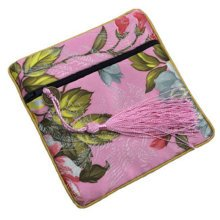 2PCS Embroidery Purse Coins Jewelry Pouch Bag Zipper Pockets Wallet, Pink