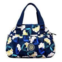 Women Waterproof Zipper Tote Bag Handbag Messenger Bag, Dark Blue, Flower