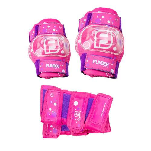 FUNBEE Girl's Kid's Activities Extra Small Wrist Guards, Extra Small Elbow Pads and Small Knee Pads Protection Set, Pink/Purple (OFUN35)