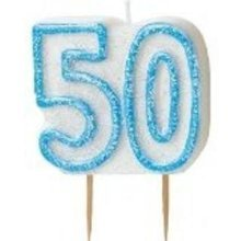 Age 50 Birthday Candle Blue Glitz