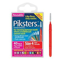 PIKSTERS 0.65 mm Size 4 Red Interdental Brush Pack of 40