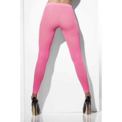 Neon Pink Opaque Footless Tights -  tights pink footless opaque neon accessory womens 80s fancy dress smiffys stockings ladies
