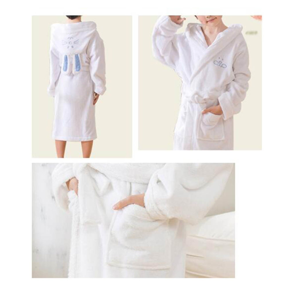 b592081bc0 ... Children Cotton Bathrobe Soft Swim Bath Gown Robes Pajamas with Hat  Rabbit-White - 1.