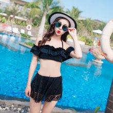 Black Lace Skirt Swimsuit lotus leaf Shoulder Sexy high waist bikini
