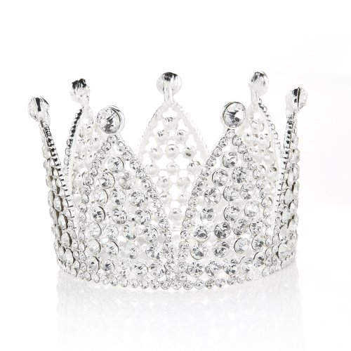 JANOU Crown Tiara Cake Topper Crystal Children Hair Ornaments for Wedding Birthday Party Cake Decoration (Silver)
