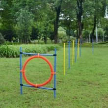Pawhut Dog Agility Training Obedience Jump Hurdle 6 Weave Pole Training Hoop