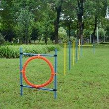 Pawhut Dog Agility Training Obedience Jump Hurdle 6 Weave Pole Training Hoop