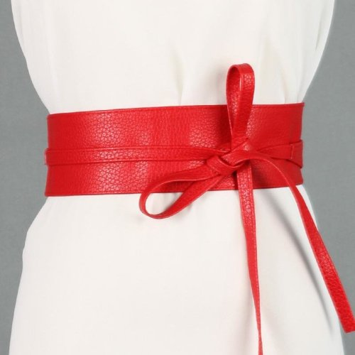 Fashion Women Belt Circle Soft Leather Bowknot Body Shaping Bands Wide Belts All Match Dress red black silver brown waist belt
