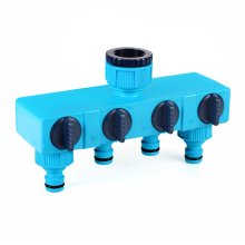 "4 Way 1/2"" & 3/4"" Outdoor Water Tap to Garden Hose Lock Connector Splitter Adaptor"