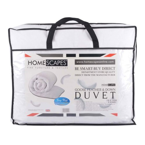 Homescapes Super King Size 13.5 Tog - Luxury White Goose Feather & Down Duvet - 100% Cotton Anti Dust Mite & Down Proof Fabric - Anti Allergen -...