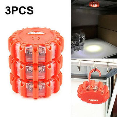 3 Multi Function LED Road Flares Flashing Warning Light Roadside Flare Emergency