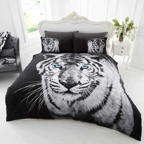White Tiger Duvet Cover Bedding Set